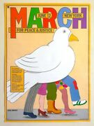 Seymour Chwast Rare 1982 March For Peace And Justice Collector's Pop Art Poster