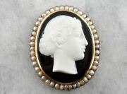 The Female Apostle Juniah Antique Natural Pearl And Hardstone Black And White O