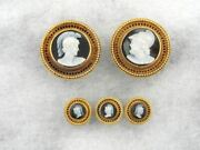 Antique Victorian Carved Onyx Cufflink And Shirt Stud Set