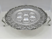 Italian 925 Sterling Silver Floral Shell Embossed Standing Passover Seder Plate
