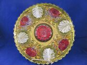 Goofus Glass Gold Red And Silver Dish 741