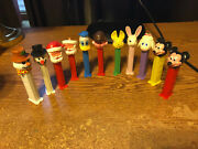 11x Pez Dispensers Mickey Mouse Donald Duck Santa Easter Bunny Snowman/real Pics