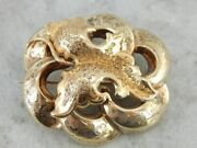 Botanical Themed Antique Victorian Brooch Or Pendant In Yellow Gold