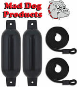 2 Pack Black 6.5 X 23 Ribbed Inflatable Boat Fender Buoys And 2 Lines -made In Usa