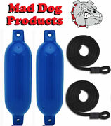 2 Pack Blue 6.5 X 23 Ribbed Inflatable Boat Fender Buoys And 2 Lines - Made In Usa