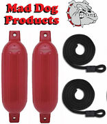 2 Pack Red 6.5 X 23 Ribbed Inflatable Boat Fender Buoys And 2 Lines - Made In Usa