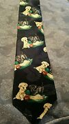 Ducks Unlimited Tie With Lab Puppies And Duck Decoy