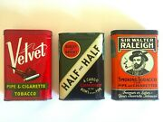 Vtg Mid Century Lithograph Print Oval Flip Top Tobacco Tin Metal Boxes Set Of 3