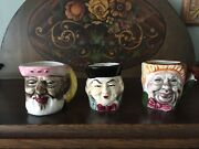 Set Of 3 Decorative Small Toby Mugs Made In Japan Excellent 3