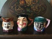 Set Of 3 Decorative Small Toby Mugs Made In Japan Excellent