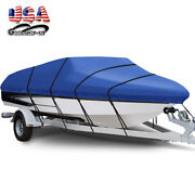 17and039 -19and039 Heavy Duty Waterproof Boat Cover Blue V-hull Trailerable Beam 96