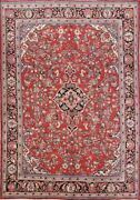 Outstanding Semi Antique Floral Red 9x12 Wool Oriental Area Rug
