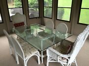 Indoor Wicker Dining Set White Glass Table 6 Chairs 2 Rockers 1 End Table
