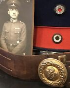 Imperial German, Ww 1 Prussian Officer's Brown Belt, Buckle And Photo, 1918 Turkey