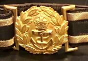 British Royal Navy Known And Identified Ww1sr. Officer Dress Sword Belt And Buckle