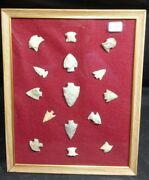 Large Collection Of Framed Arrowheads. 15 Total. K349