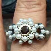 Natural Pyrope Garnet, Freshwater Cultured Seed Pearl 925 Sterling Silver Ring 6