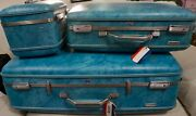 Vintage Set Of 3 American Tourister Luggage Turquoise Large Small And Train Case