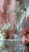 Personalized Wedding Wine Glass Bride Groom Sparkle Bling Unique Gift