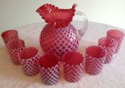 Fenton Art Glass Cranberry Opalescent Baby Coin Dot Ice Lip Pitcher And 8 Tumblers