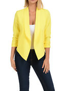 Aulinandeacute Collection Womens Casual Lightweight 3/4 Sleeve Fitted Open Blazer