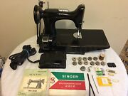 Singer 221 Featherweight Sewing Machine W/case Books ,some Access