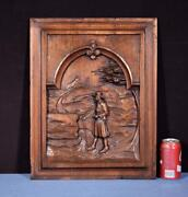 Antique French Breton/brittany Wood Panel/door/woodcarving Of A Man