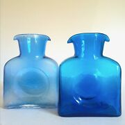 Mid Century Modern Blenko Turquoise And Azure Dbl Spout Glass Water Bottles 2pc