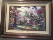Gazebo Of Prayer Painting By Thomas Kinkade On Canvas G/p W/ Coa Excellent Cond