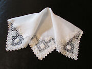 Vintage / Antique White Wedding / Lawn Hankie Embroidered And Open Cut Work 1890and039s