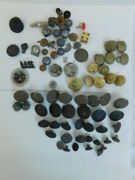 Huge Vintage Lot Of 46 Military Buttons Lion Head Lead Balls Silver Rose Knobs