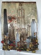Mid Century Brutalist Metal Wall Hanging City Scene Buildings Cars + More Signed