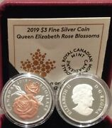 2019 Queen Elizabeth Rose Gold Blossoms 3 Pure Silver Proof Canada Coin