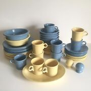 Fiesta Ware Vintage Butter Yellow And Periwinkle Blue Dinnerware Set 43 Piece Set