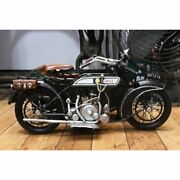 Tin Toy Motor Cycle Side Car H160 W185 L300mm Moss Green Antique [110