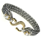 Gerochristo 6228 Gold Silver And Pearls- Byzantine Medieval Cable Rope Bracelet