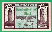 Germany Bad Ems Banknote 100000 Mark Paper Money 1923 Circulated 27419