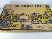 Vintage 1950's Rel Western Play Set Plastic Horses Wagons And Cowboys