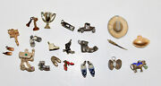 Vintage Miniature Metal Charms Lot Several Shoes Car Cow Baby Scale 22 Pieces