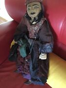 Burmese Hand Made Antique Wood Marionette Puppet Vintage Clothing 23 Tall 7