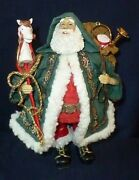 Santa Stiffened Fabric Suit And Bag French Horn Drum Faux Fur Trim Hobby Horse