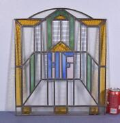 Antique French Stained Glass Panel With Hf Monogram/initials
