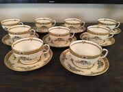 """17pc Minton Tea Cup And Saucer Set, """"warwick"""" Hand Painted With Raised Enamel"""