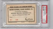1935 Babe Ruth Ticket Pass Nl Debut/hr 709 Psa Boston Braves Opening Day Hubbell