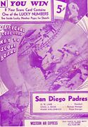 1937 Ted Williams Program San Diego Padres Unscored/19/ Age 18/23 Hr/ba 291