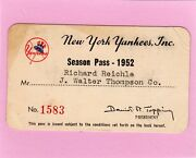 1952 New York Yankees Pass Ticket Mickey Mantle 23 Hrs /ll 111k/truck No-hit Gm