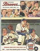 1954 Braves Program Hank Aaron And Harry Agganis 1st Exhibit Gm In Ml Park Red Sox
