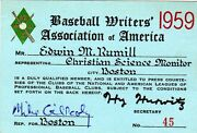 1959 Ticket Pass Harvey Haddix Pitches 12 Perfect Innings At Braves Vs Pirates