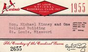 1955 Ticket Pass St Louis Cardinals Stan Musial Hr 33/rbi 108/wally Moon Rcy Mt