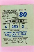 1964 Oct 3 Pass Ticket Mickey Mantle 3 Rbi Yankees Clinch Pennant/35 Hr/111 Rbi